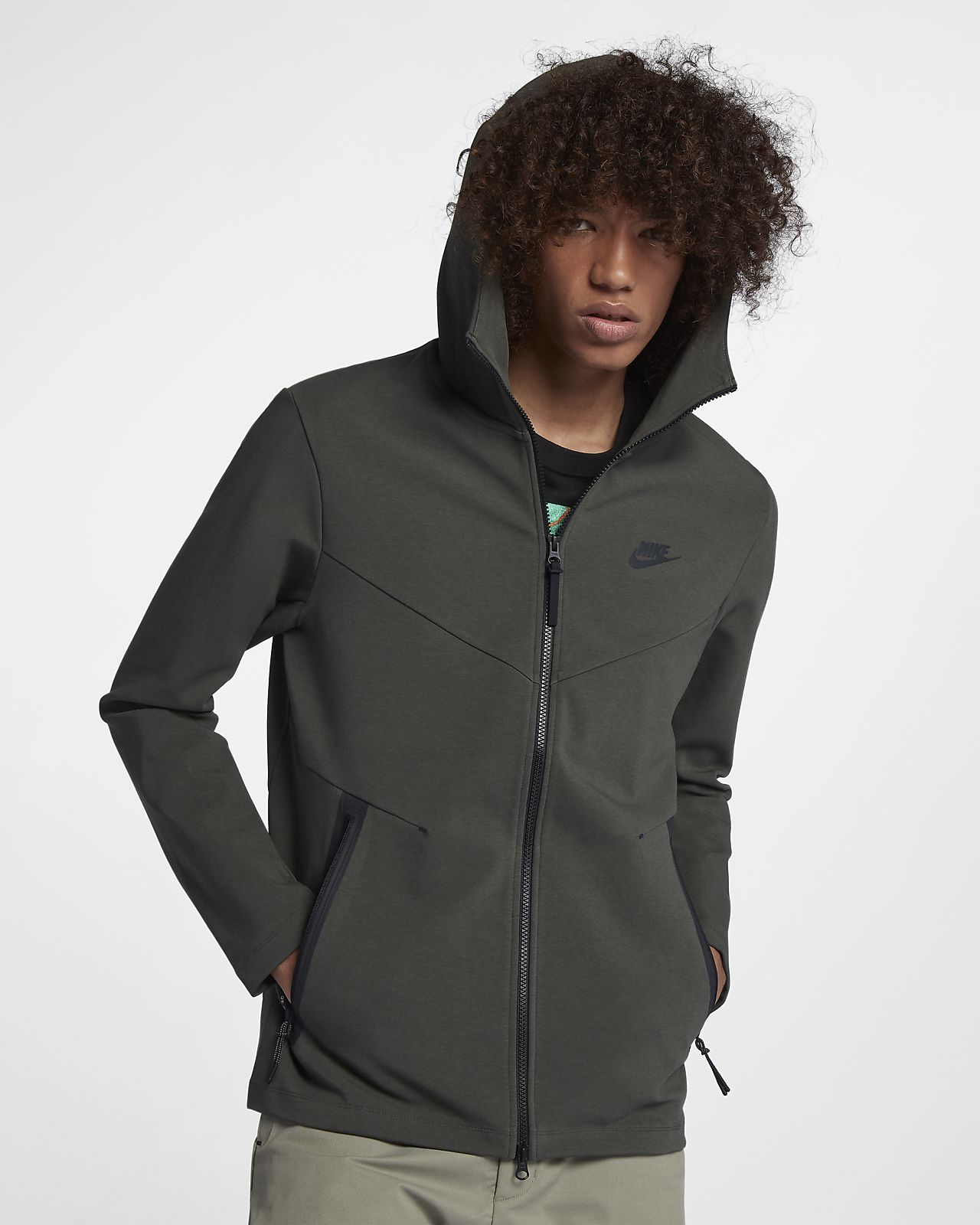 เสื้อมีฮู้ดซิปยาวผู้ชาย Nike Sportswear Tech Pack