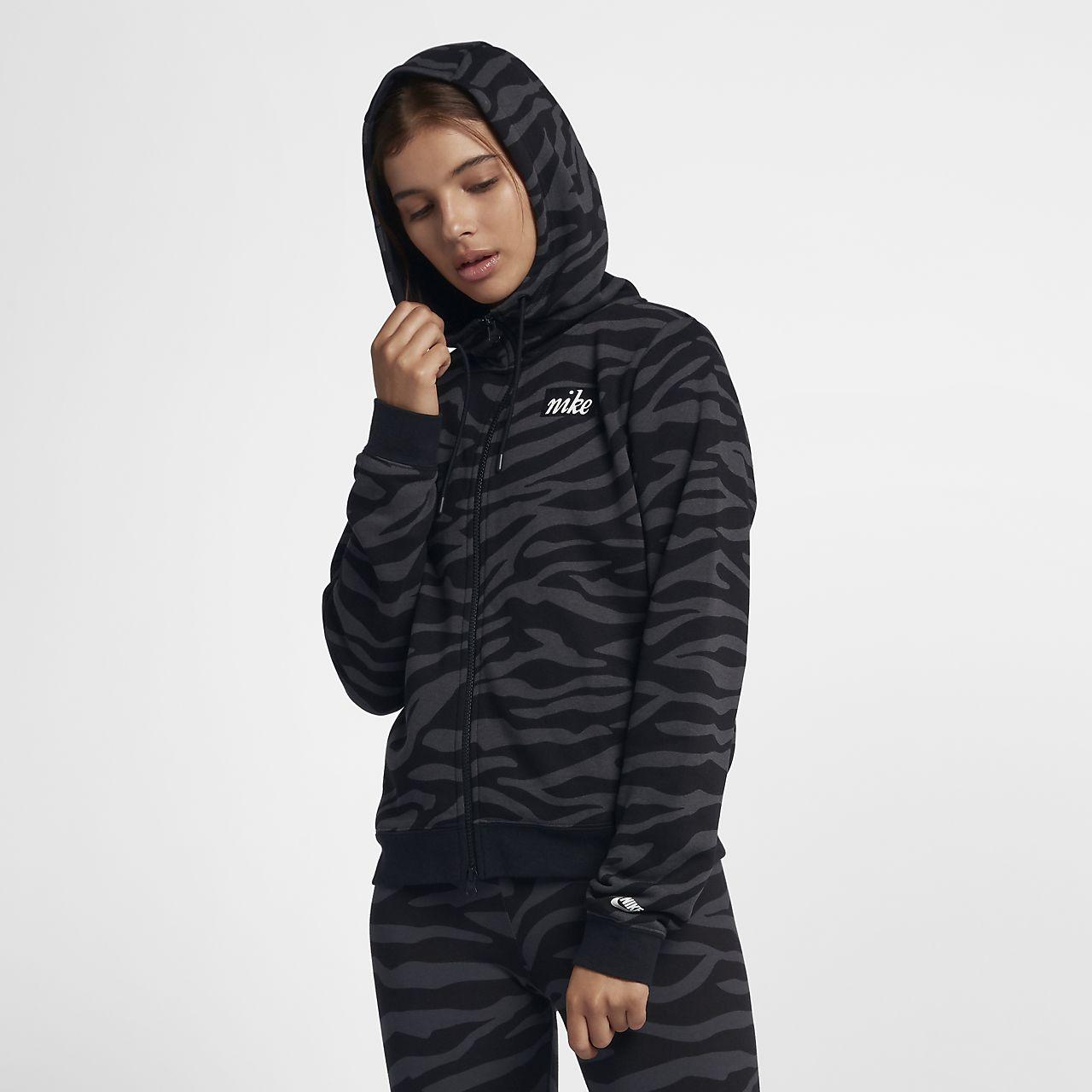 Nike Sportswear Tam Boy Fermuarlı Hayvan Baskılı Kadın Kapüşonlu Üst