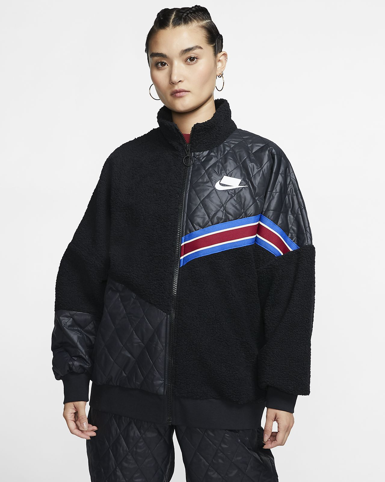 Nike Sportswear Nike Sports Pack Sherpa Track Jacket mit durchgehendem Reißverschluss für Damen