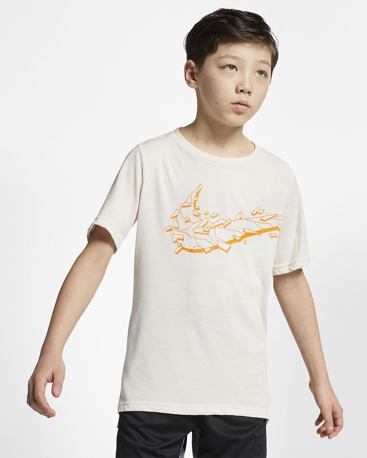 Top de entrenamiento de manga corta para niños talla grande Nike Breathe