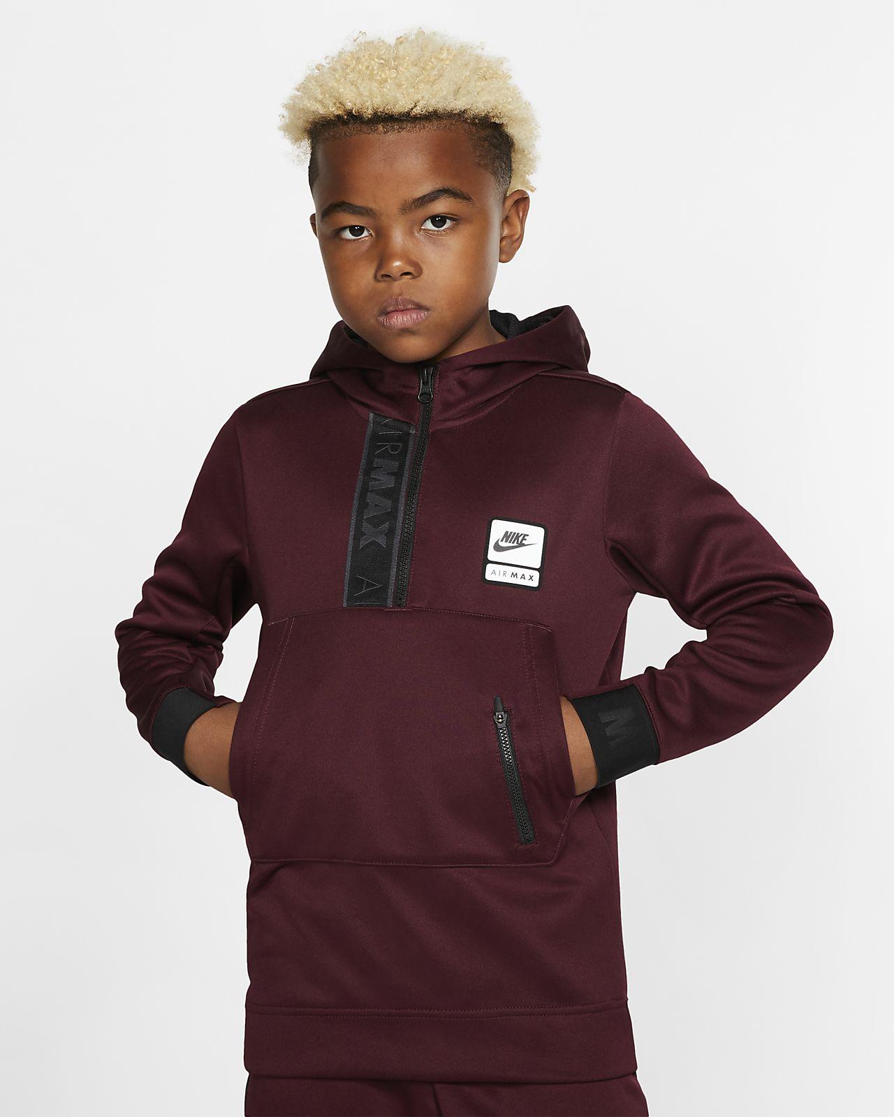 Nike Air Max-hættetrøje med lynlås i halv længde til store børn