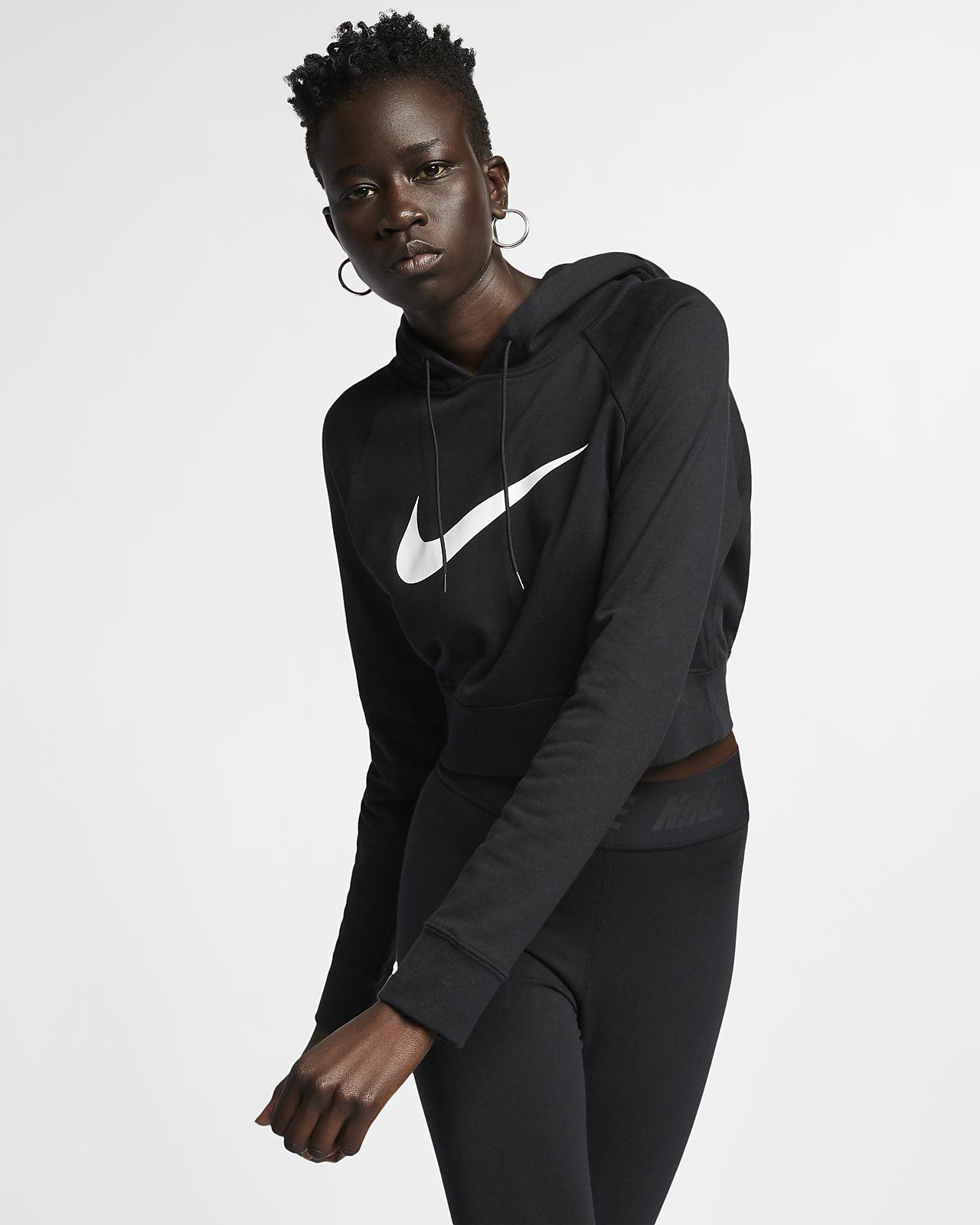 Nike Sportswear Swoosh 女款短版法國毛圈布連帽上衣