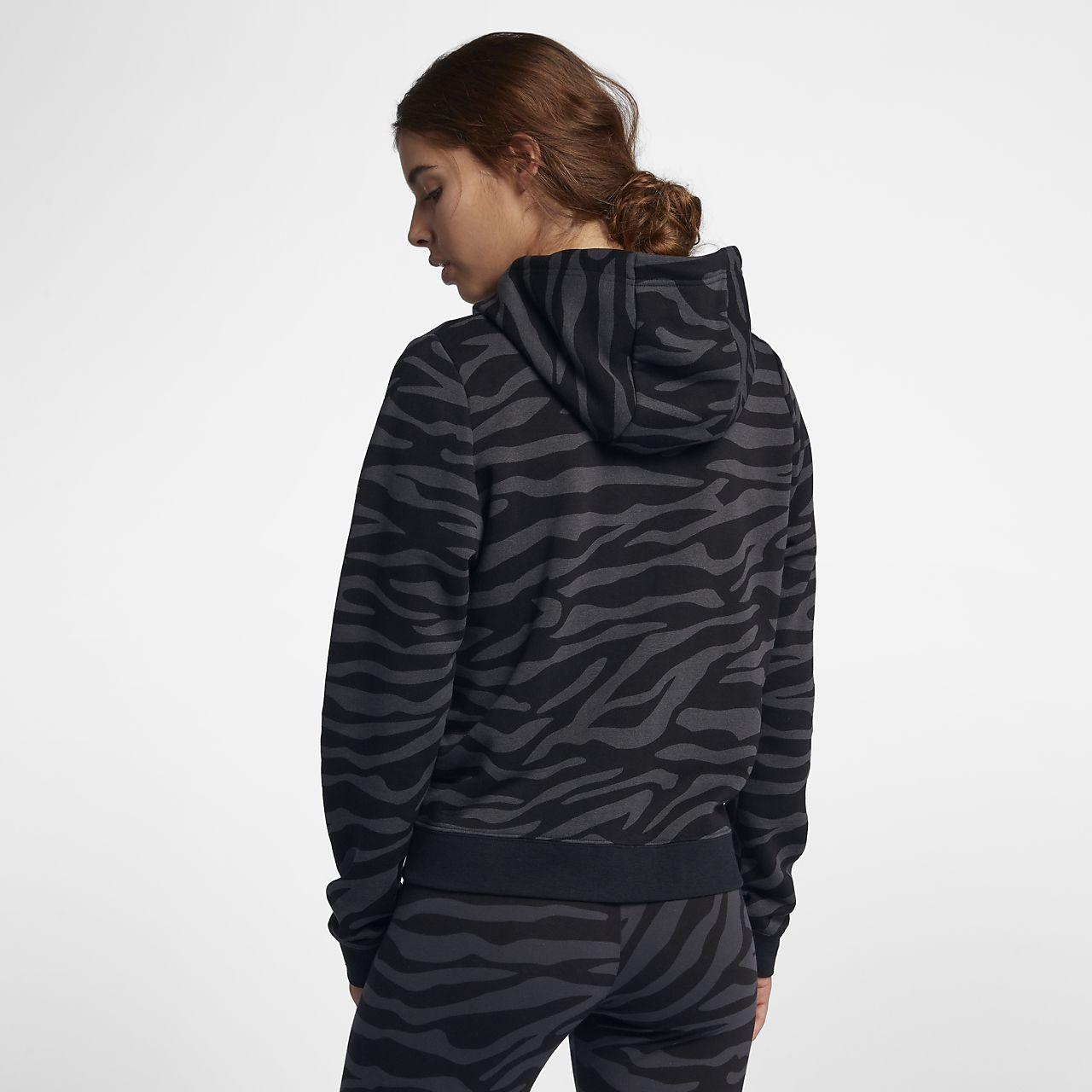 Felpa animalier con cappuccio e zip a tutta lunghezza Nike Sportswear -  Donna