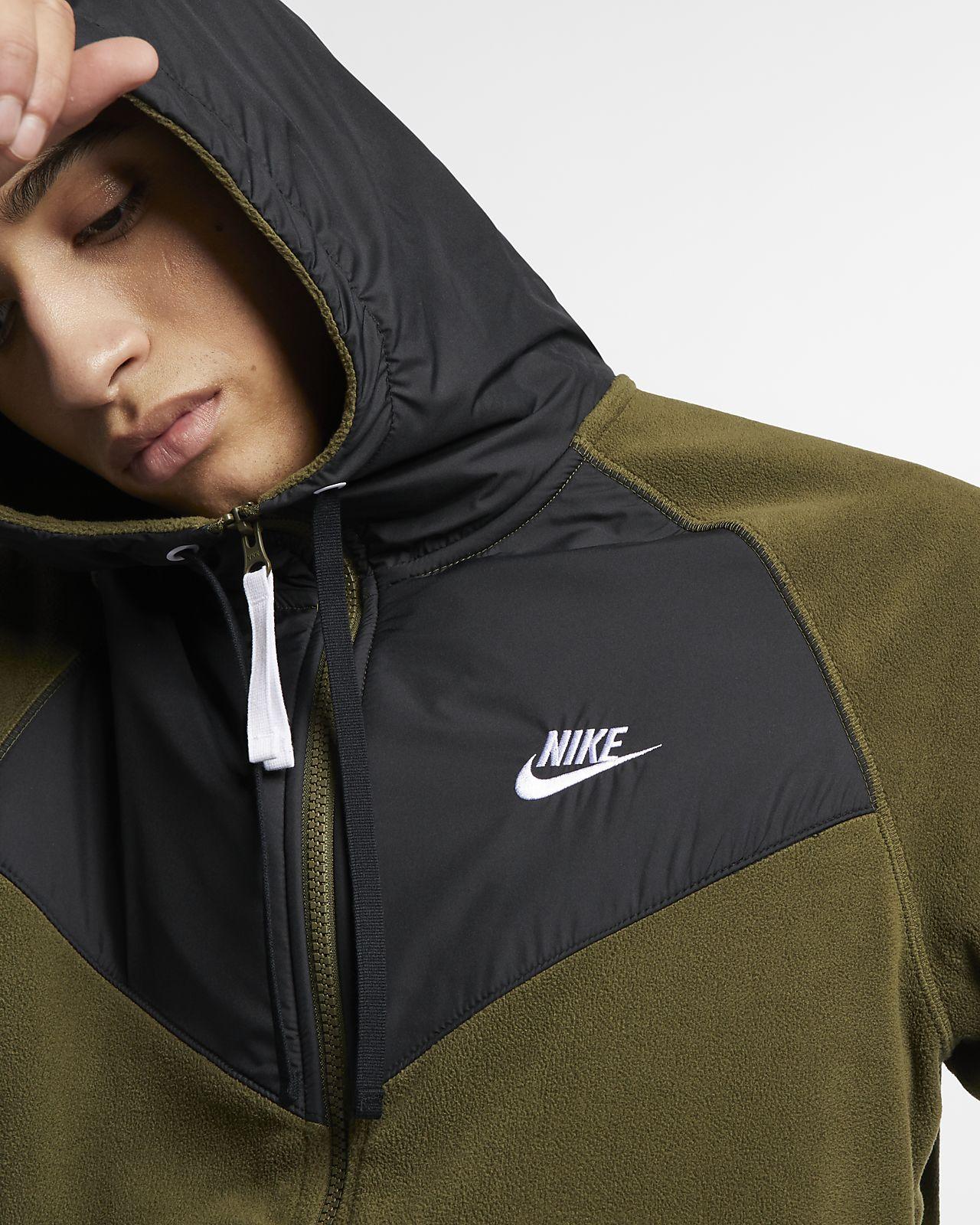 Nike Herren Dry Full Zip Fleece Hoodie, Olive CanvasBlack
