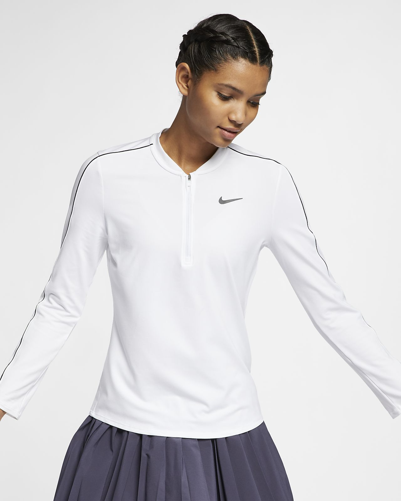Dámský tenisový top NikeCourt Dri-FIT s polovičním zipem