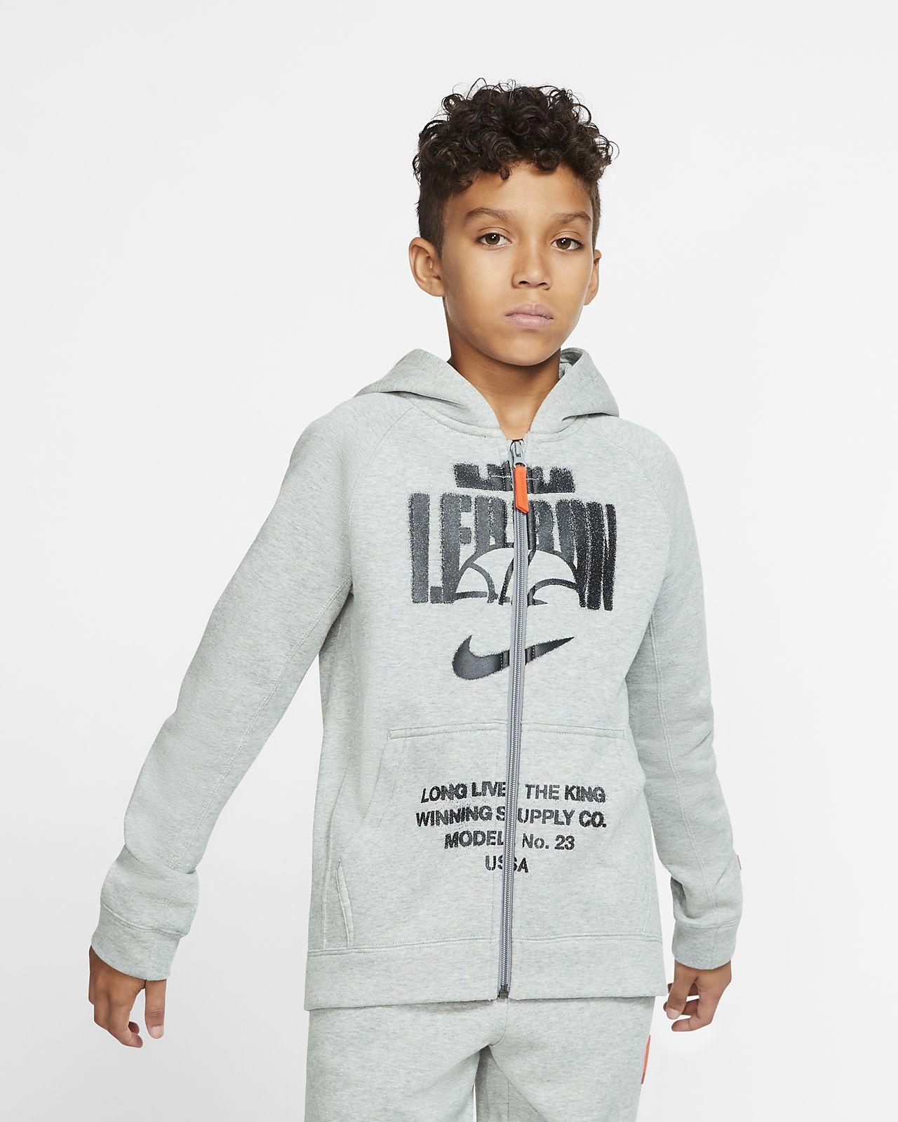 LeBron Big Kids' (Boys') Full-Zip Basketball Hoodie
