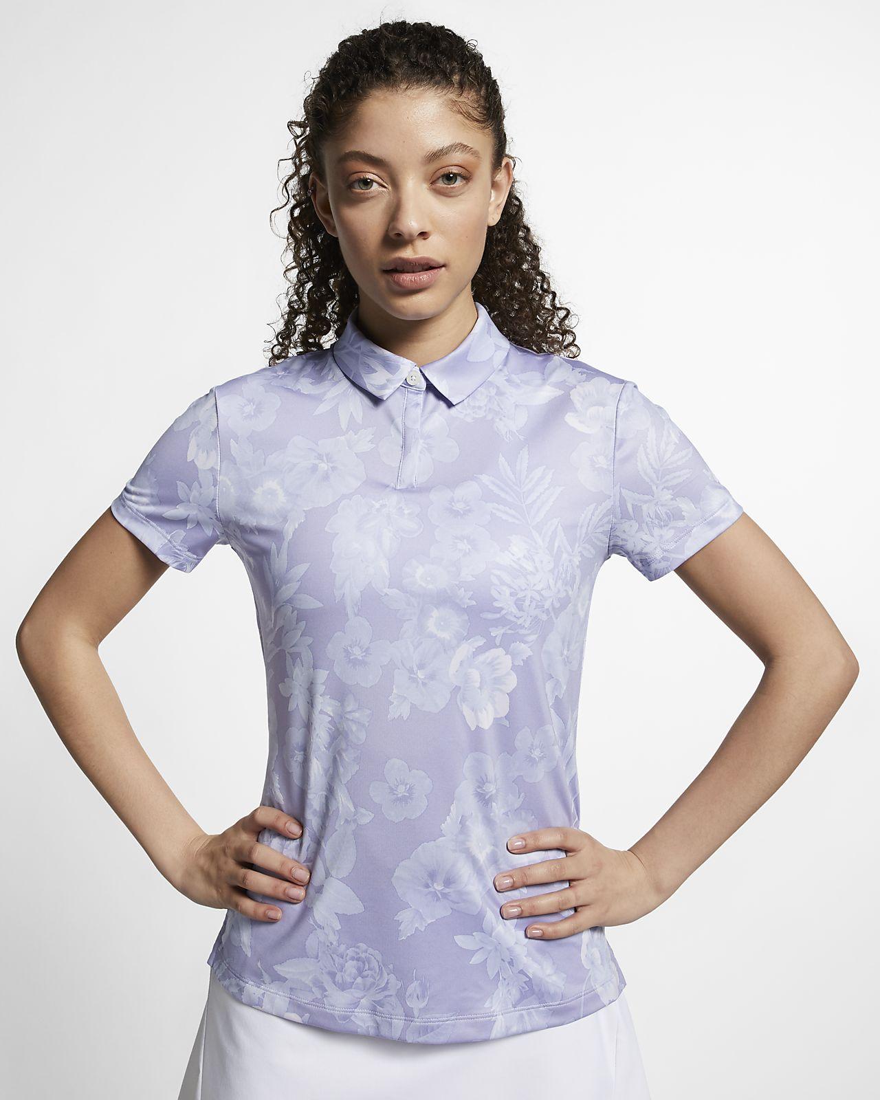 Nike Dri-FIT UV golfskjorte med trykk til dame