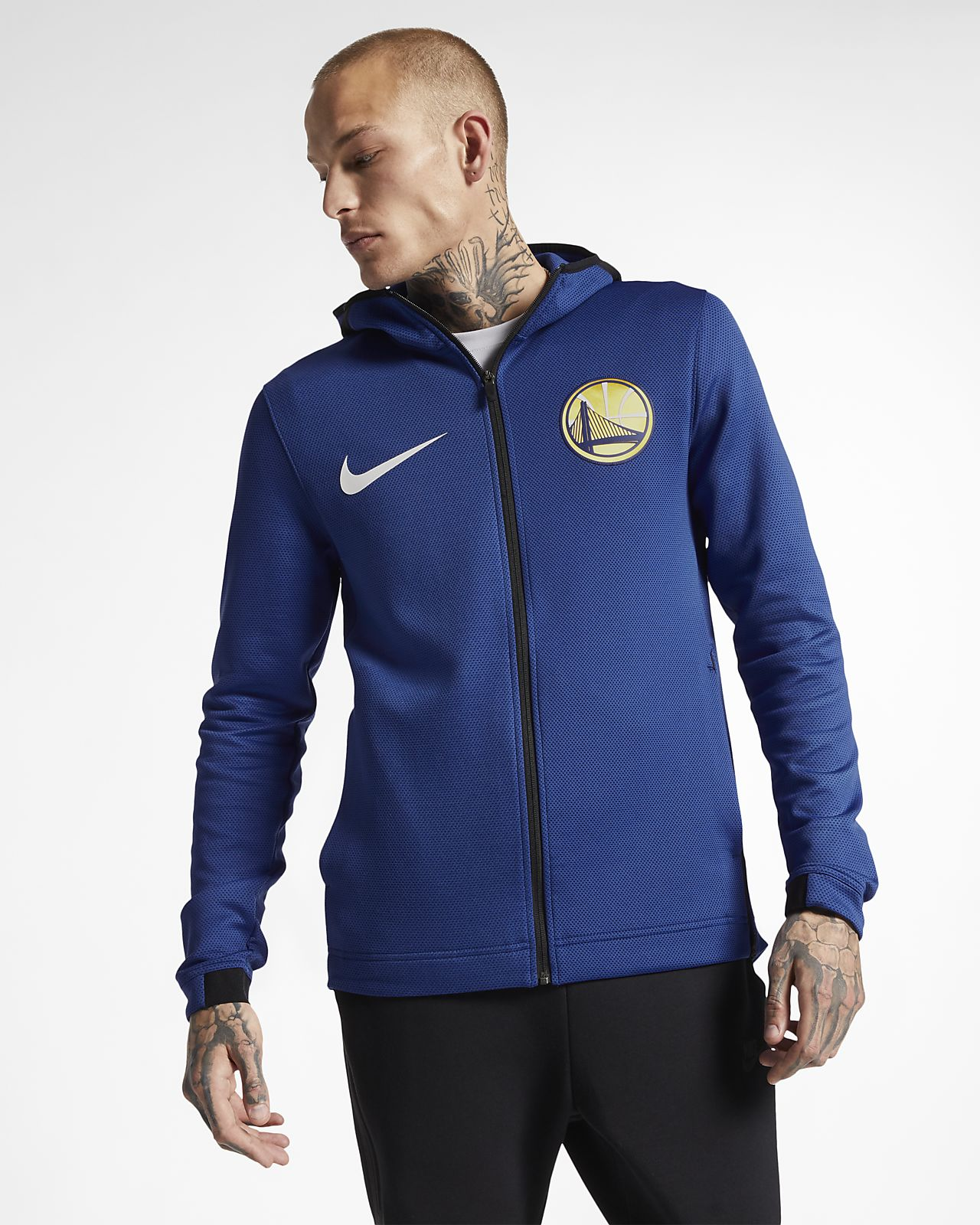 Męska bluza z kapturem NBA Golden State Warriors Nike Therma Flex Showtime