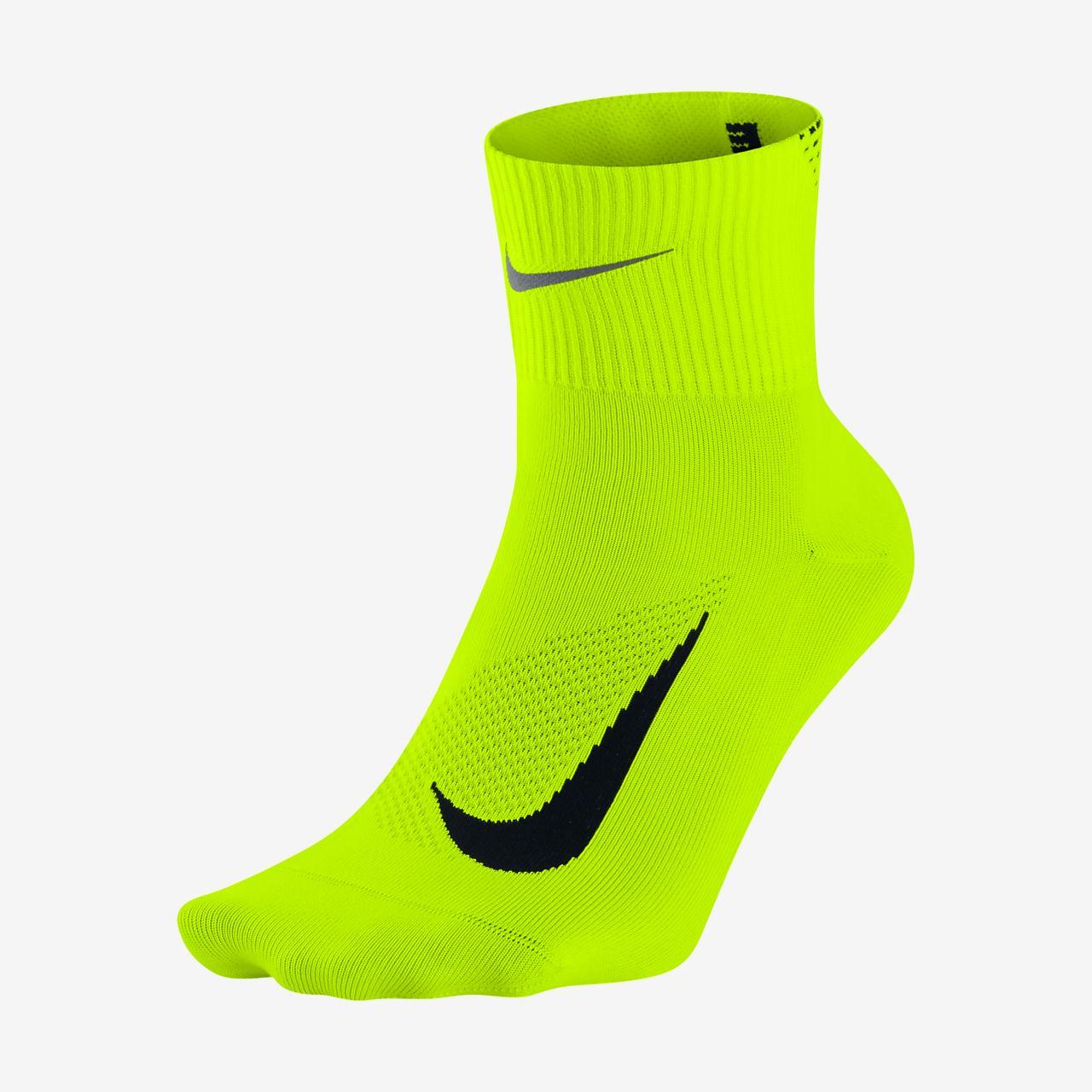 Nike Elite Lightweight Quarter Black/Volt Running Socks