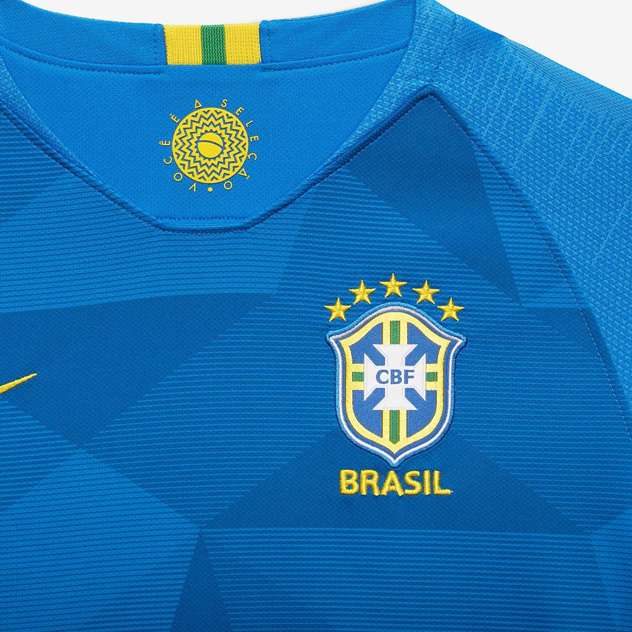 72d7333320 ... Camiseta de fútbol para niños talla grande 2018 Brasil CBF Stadium Away