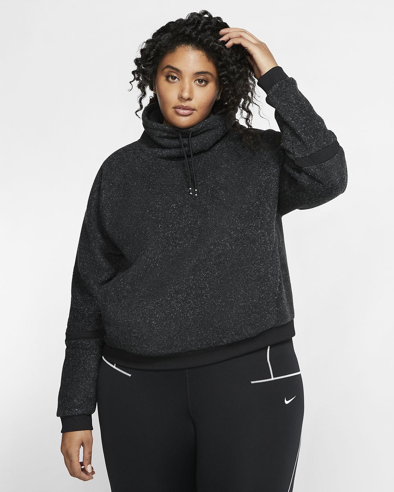 Nike Therma Trainingstop van fleece met lange mouwen voor dames (grote maten)