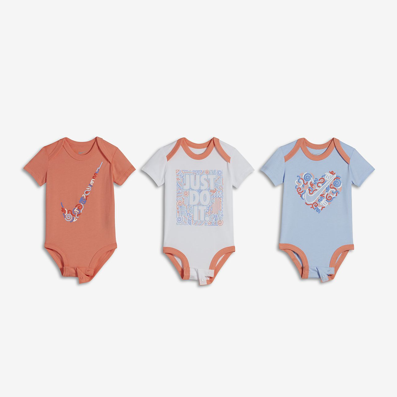... Nike Squiggle Three-Piece Infant Bodysuit Set