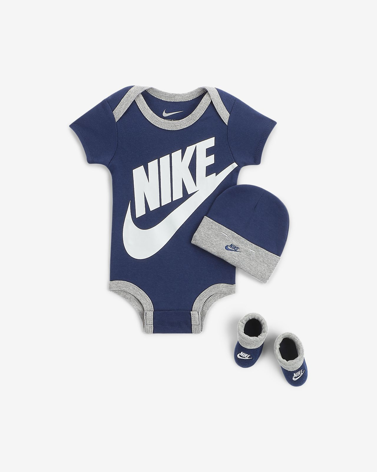 Nike Sportswear Baby Bodysuit, Beanie and Booties Box Set