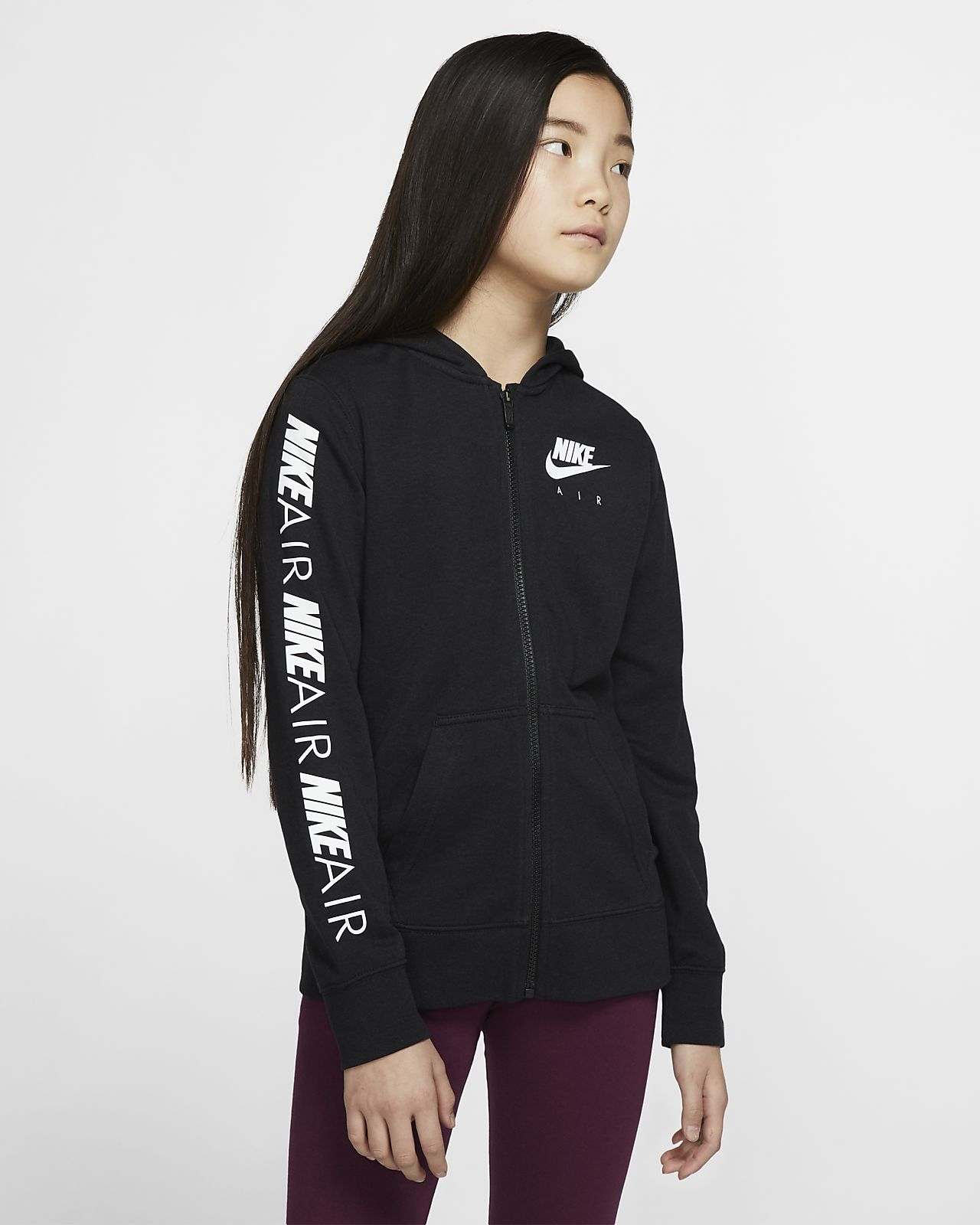 Μπλούζα με κουκούλα και φερμουάρ Nike Air για μεγάλα κορίτσια