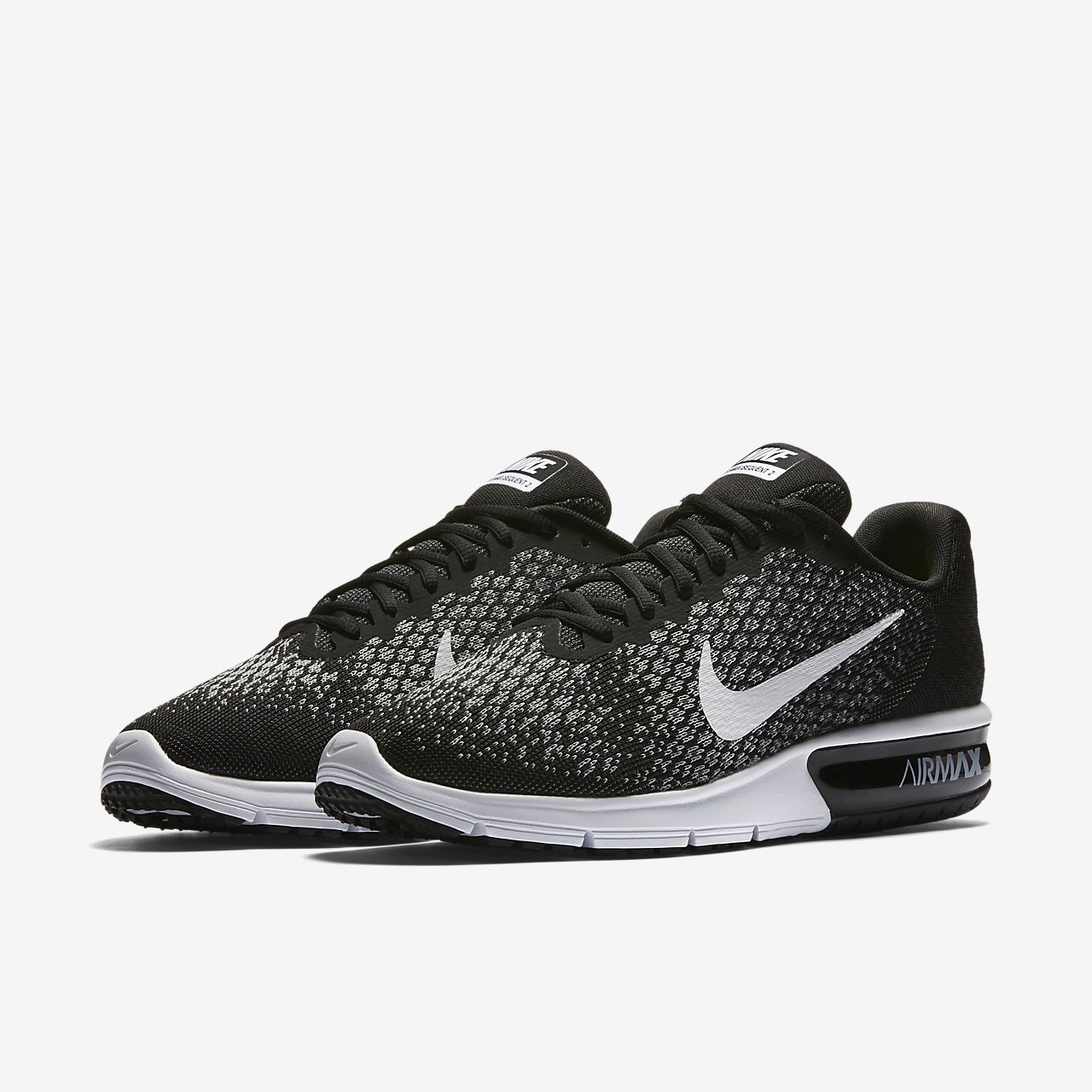 Nike Air Max Sequent 2 Girls Running Shoes Black/Grey sD7844X