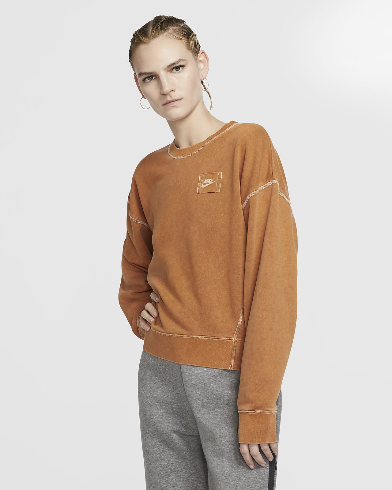 Nike Sportswear-frottetrøje med rund hals til kvinder