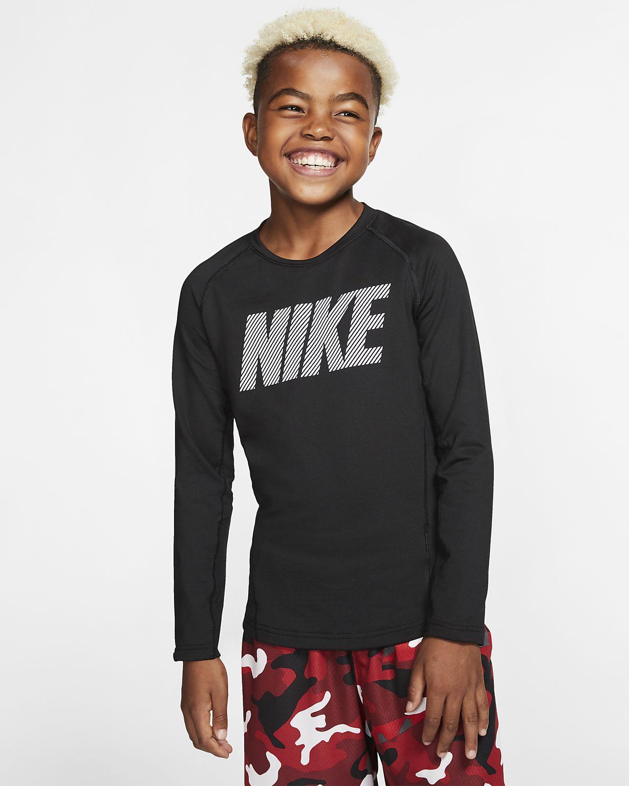 Nike Pro Warm 大童(男孩)长袖圆领训练上衣