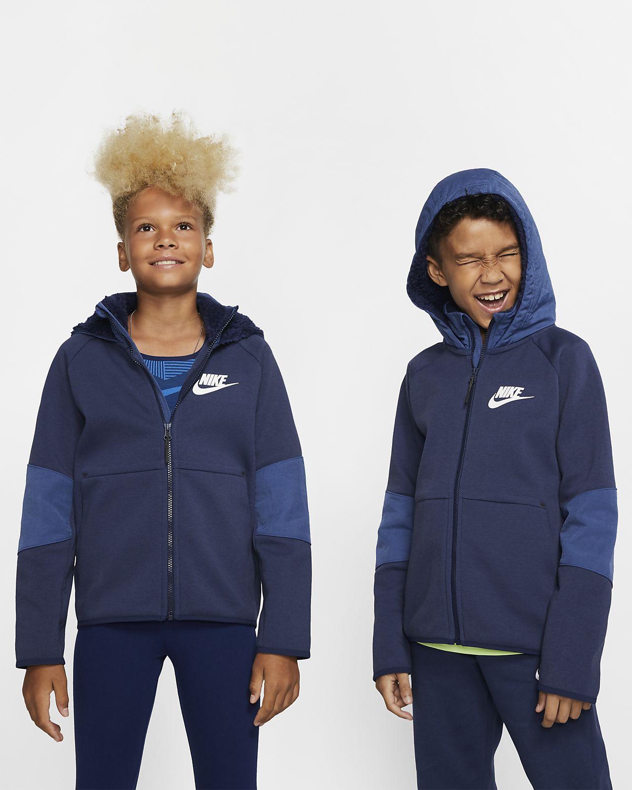 Sudadera con capucha con cierre completo para niños grandes Nike Sportswear Tech Fleece