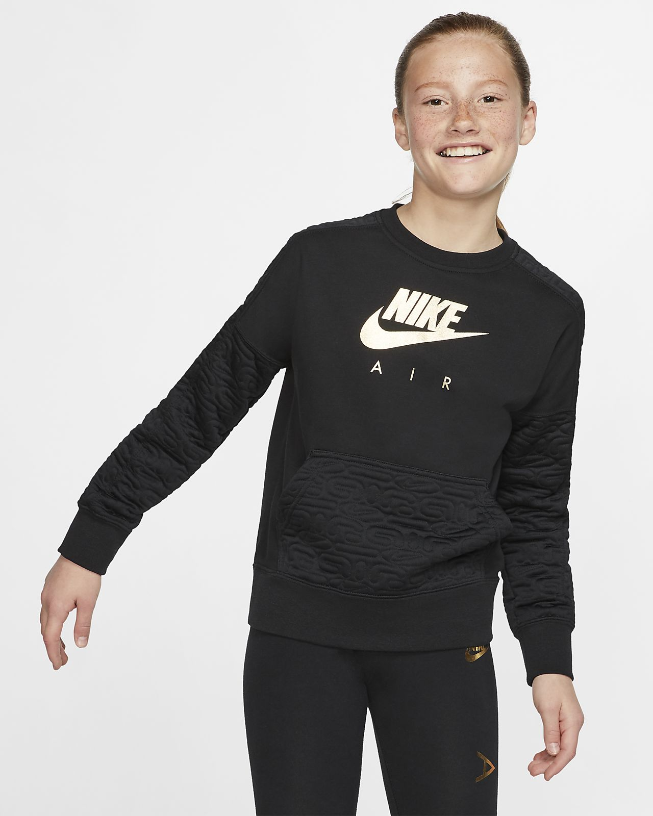 Nike Air Girls' Long-Sleeve Fleece Top