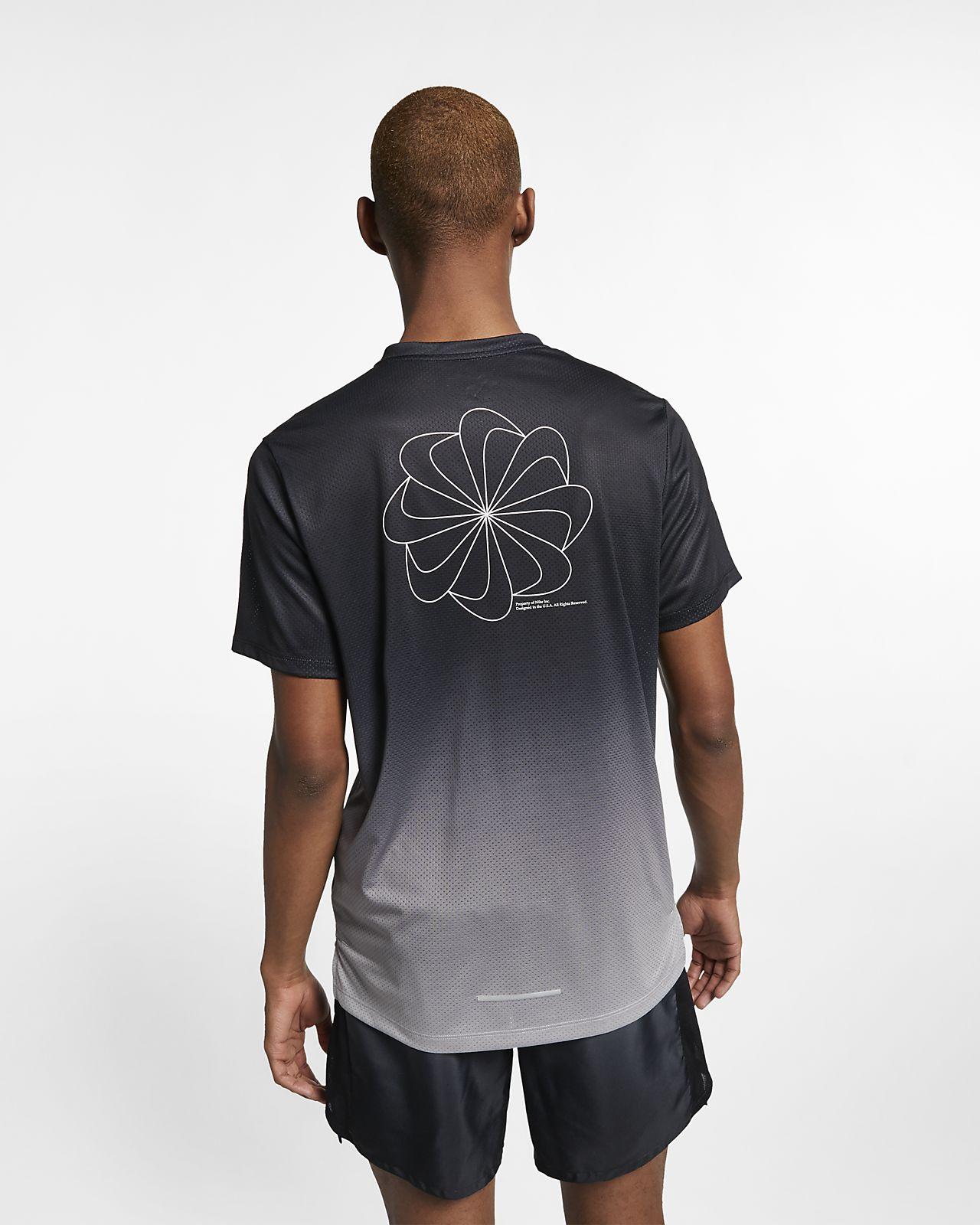 94d0749571816 Nike Mens Printed Miler Running Short Sleeve T Shirt | Azərbaycan ...