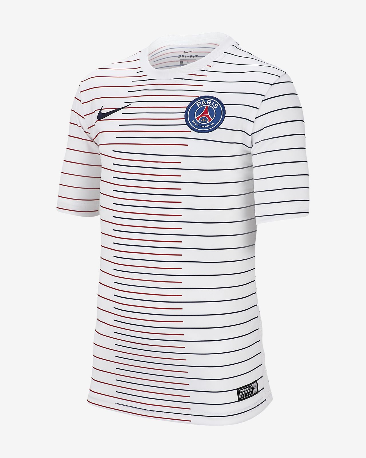 Prenda para la parte superior de fútbol de manga corta para niños talla grande Nike Dri-FIT Paris Saint-Germain