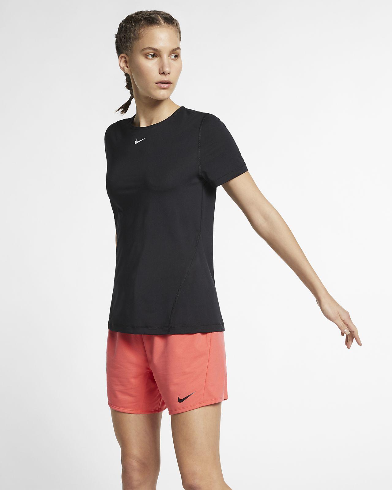 Camiseta de entrenamiento de manga corta con malla para mujer Nike Pro