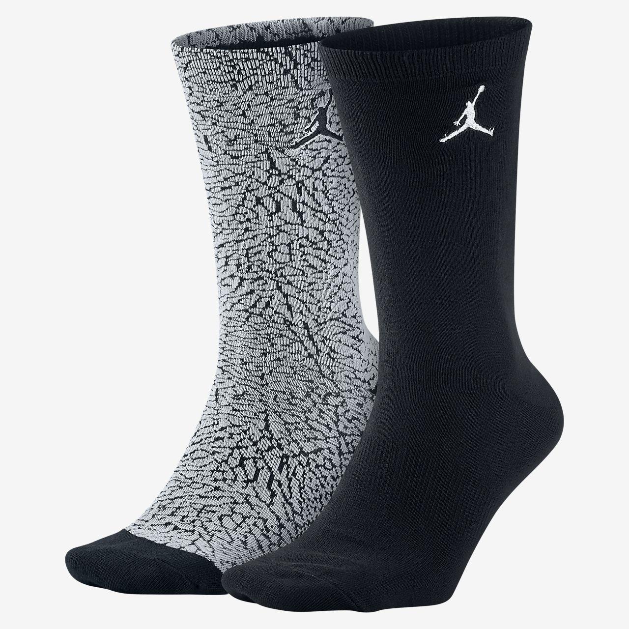 Jordan Elephant Print Crew Socks (2 Pair)
