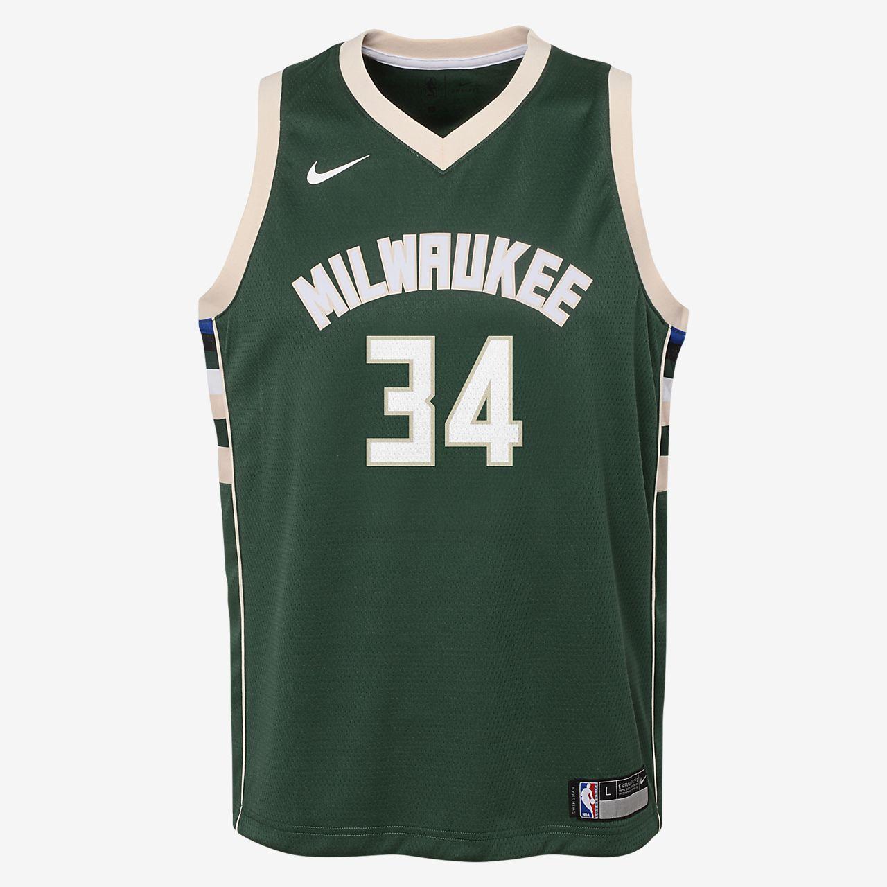 Giannis Antetokounmpo Milwaukee Bucks Nike Icon Edition Swingman Older Kids' NBA Jersey