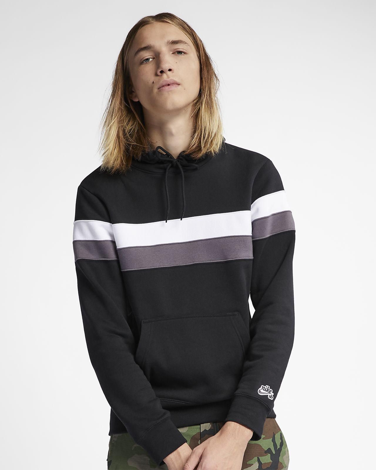 new styles ec8c9 4729d ... Nike SB Icon Striped Skate Hoodie