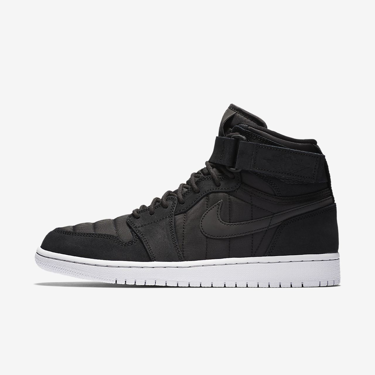 Men's Nike Air Jordan 1 High Strap Black Red Sneakers : H76y2001