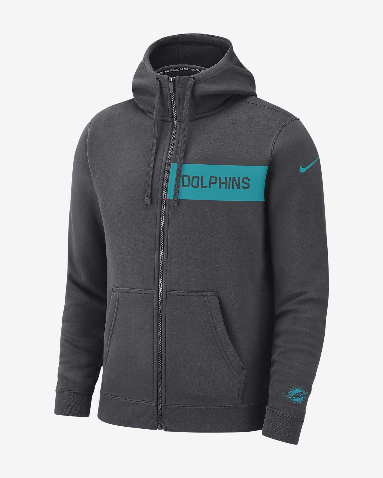 Klubbfleecetröja med huva och hel dragkedja Nike (NFL Dolphins) för män