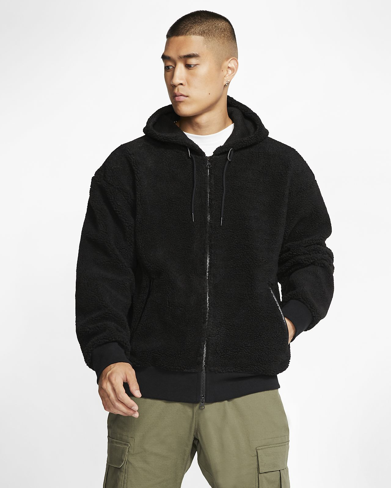 Ανδρική μπλούζα με κουκούλα από ύφασμα Sherpa για skateboarding Nike SB