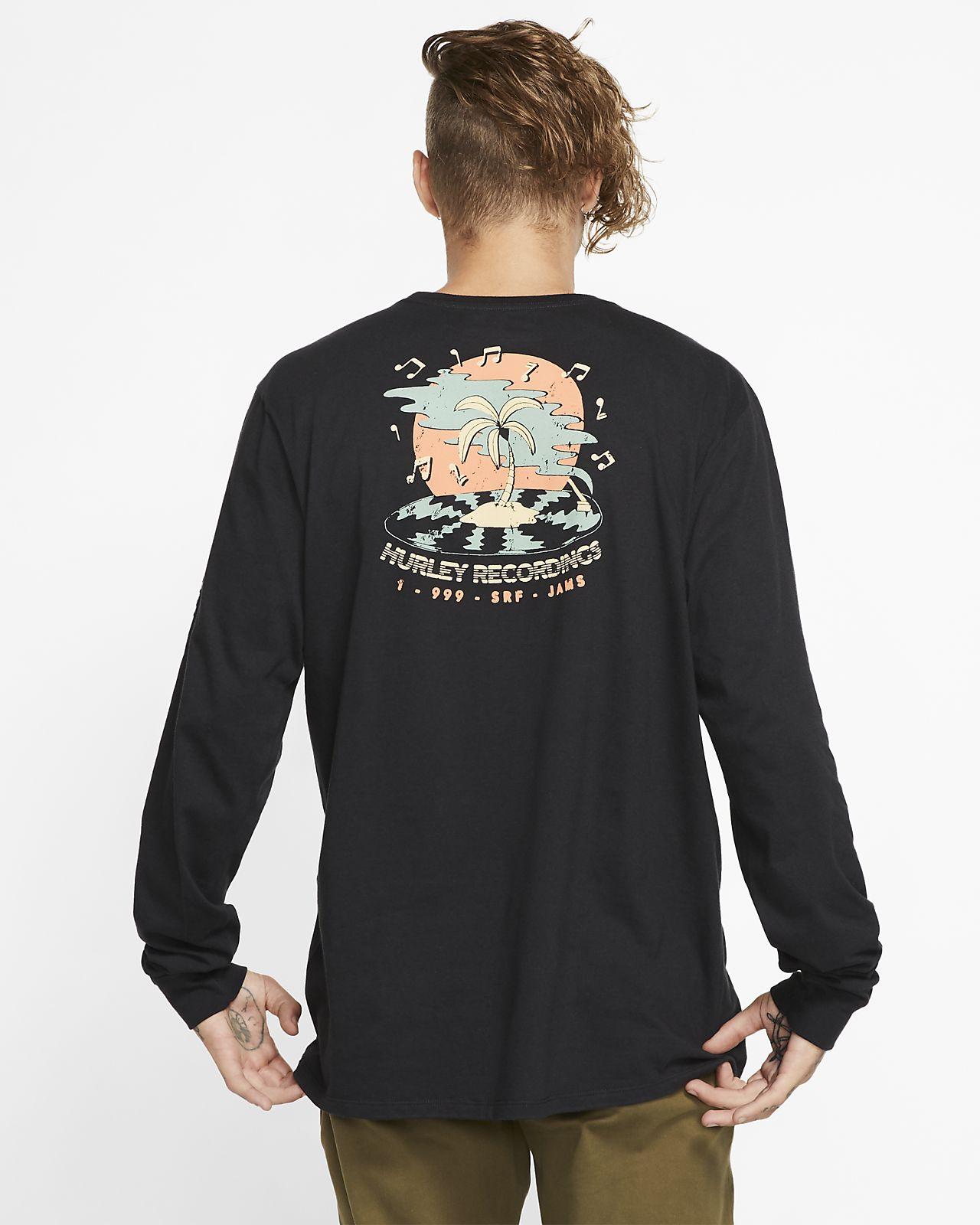Långärmad t-shirt Hurley Premium Record Palms för män