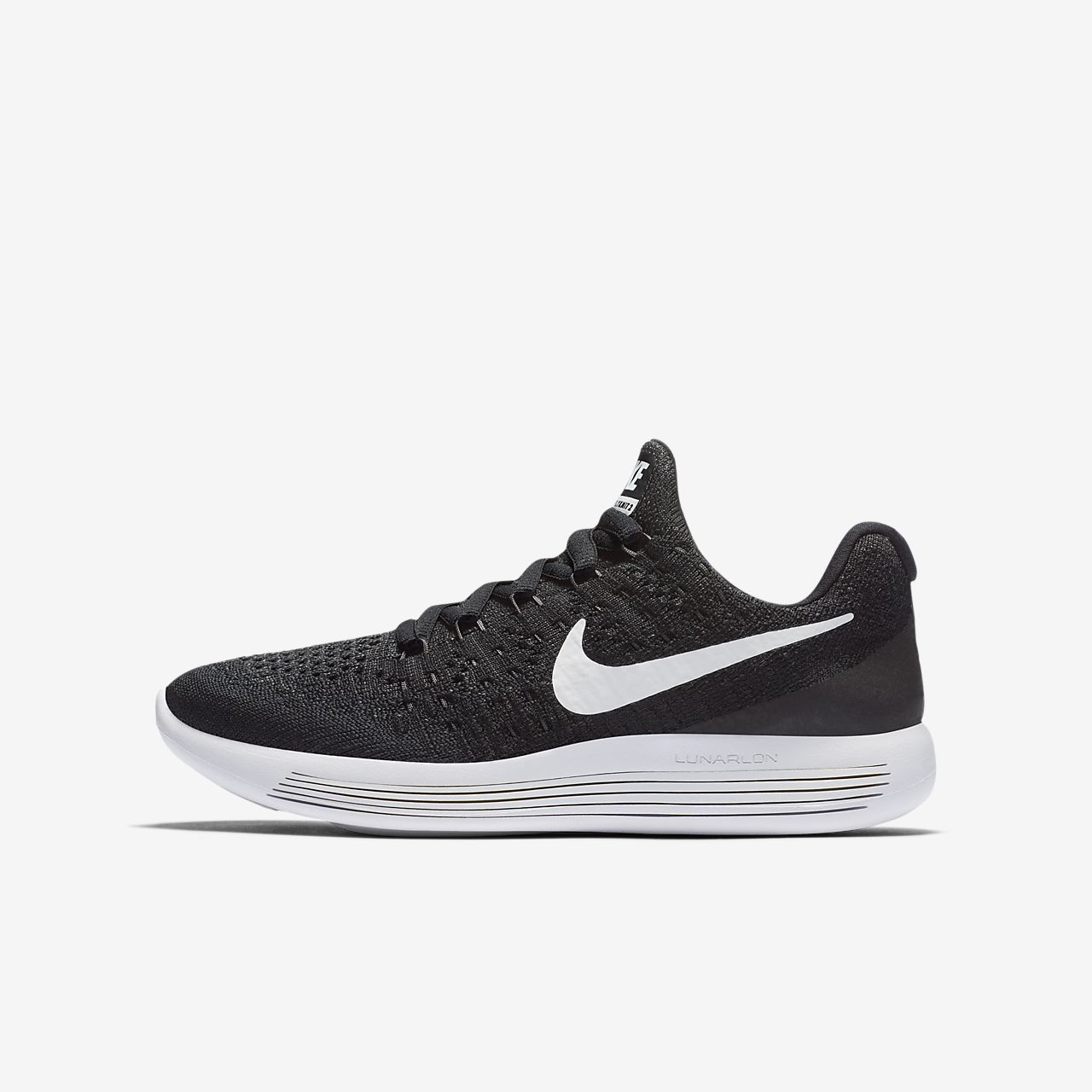 Nike LunarEpic Low Flyknit 2 Kids Running Shoes Black/Anthracite/White