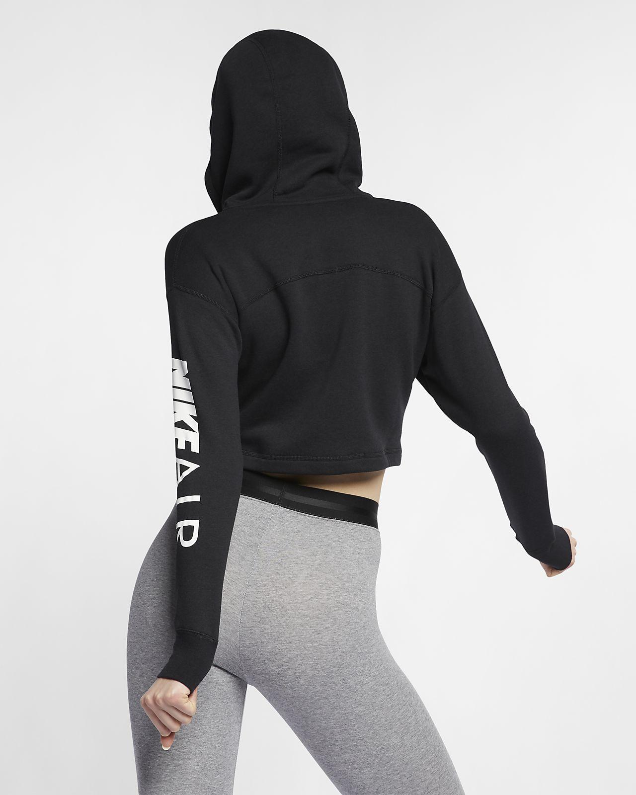 Details about Nike Women's Sportswear Cropped Full Zip Fleece Hoodie BlackWhite AR3656 010 d