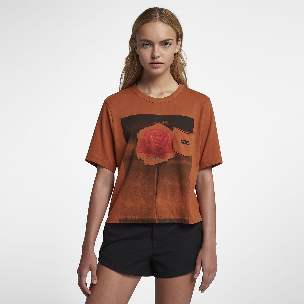 Hurley Rosepalm Crop Perfect Crew Women's T-Shirt