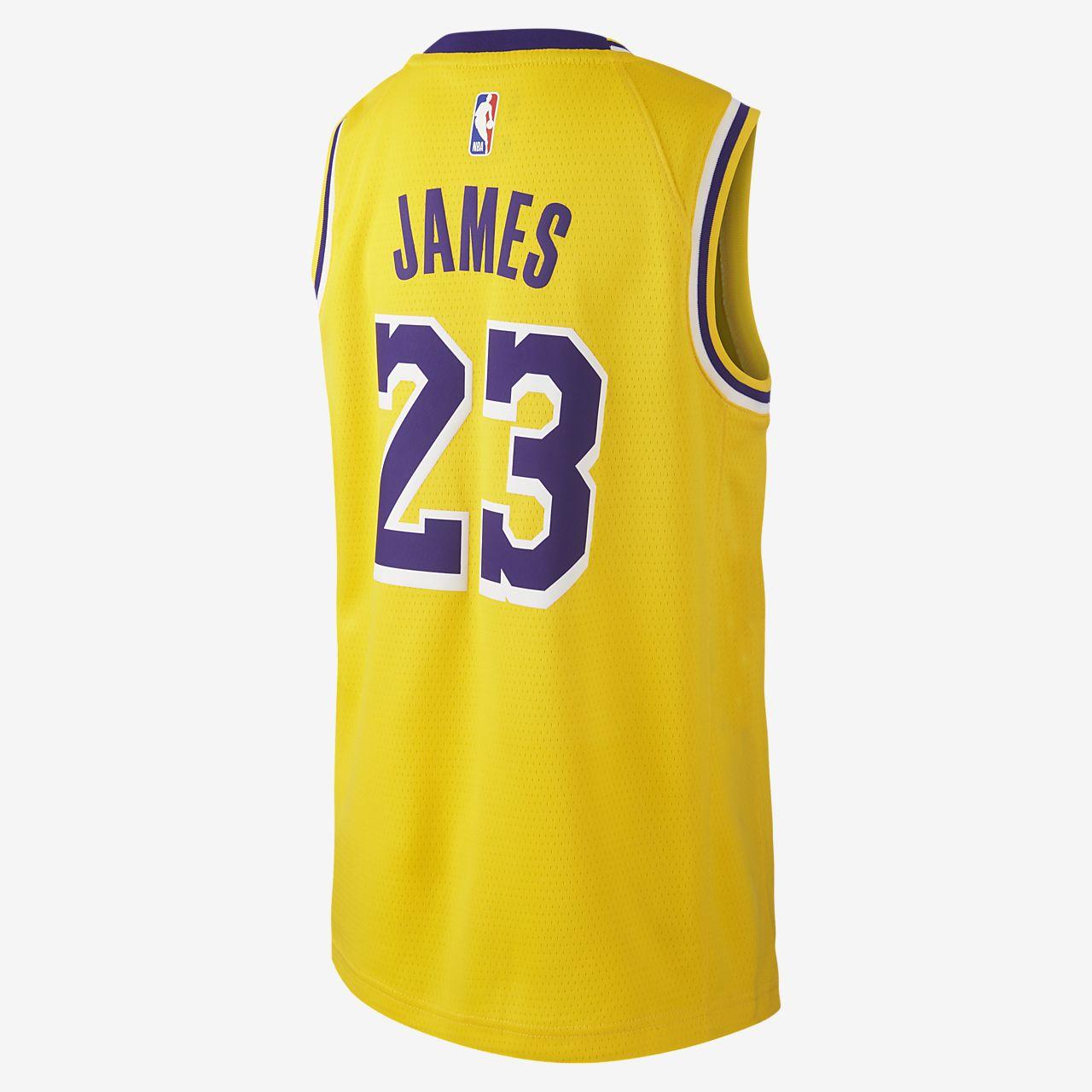 c58d640ec18d ... LeBron James Los Angeles Lakers Nike Icon Edition Swingman NBA-Trikot  für ältere Kinder