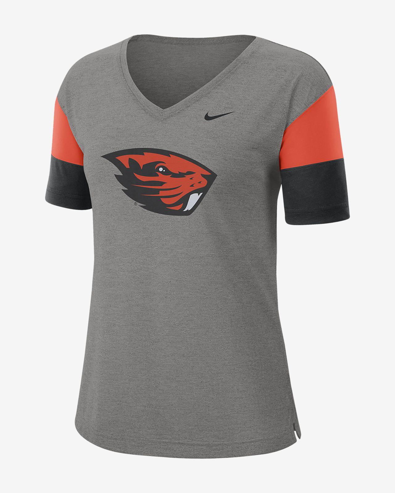 Nike College Breathe (Oregon State) Women's Short-Sleeve V-Neck Top
