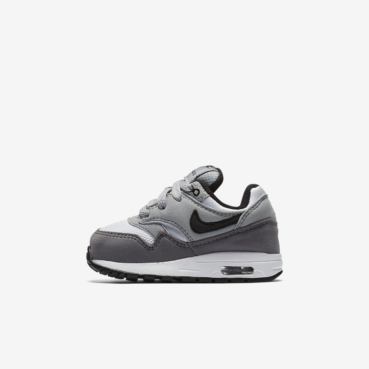 Details about Nike Air Max 90 Toddlers 408110 123 White Dark Cool Grey Shoes Baby Size 2