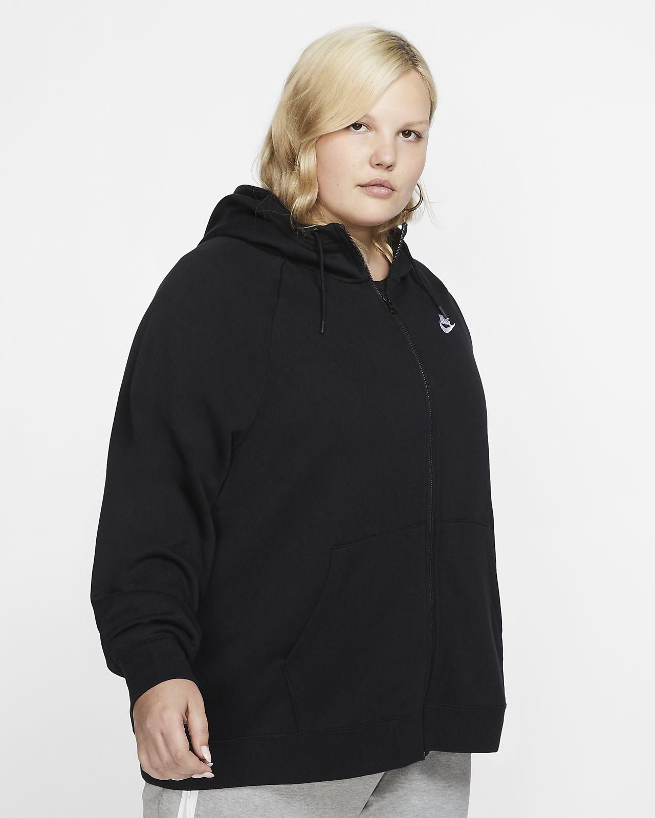Nike Sportswear Essential-hættetrøje med lynlås i fuld længde til kvinder (Plus Size)