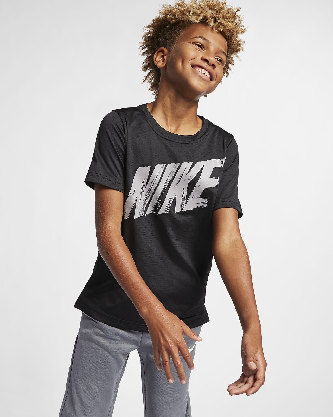 Top de entrenamiento manga corta para niño talla grande Nike Dri-FIT