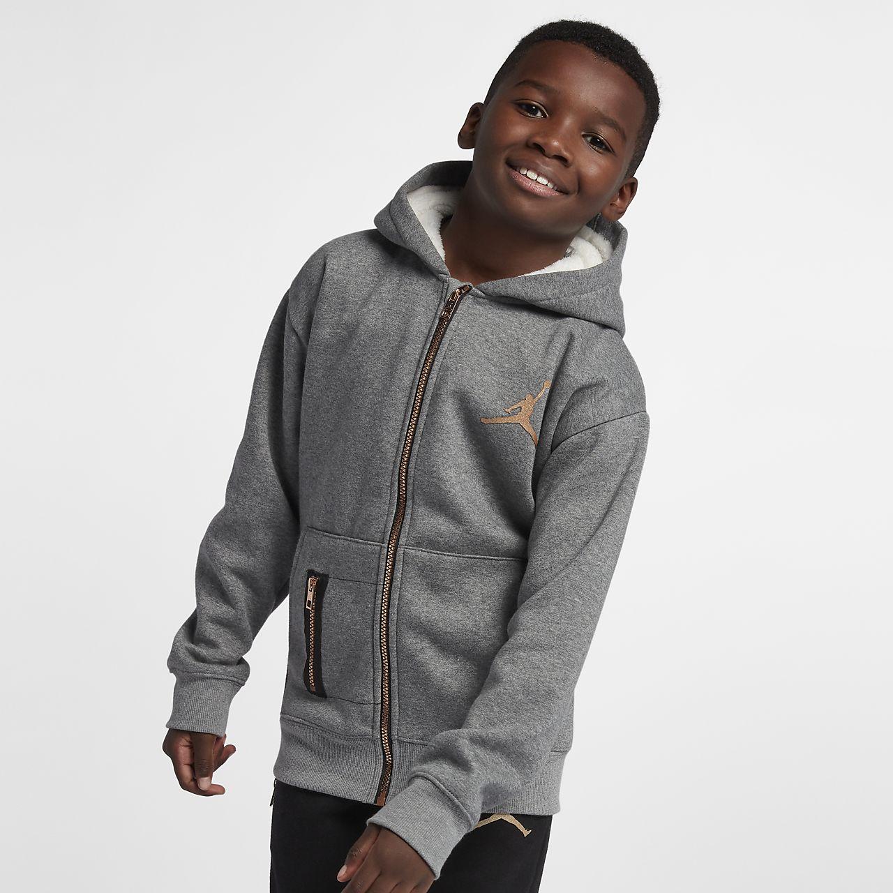 Mikina Jordan s kapucí a dlouhým zipem pro větší děti (chlapce)