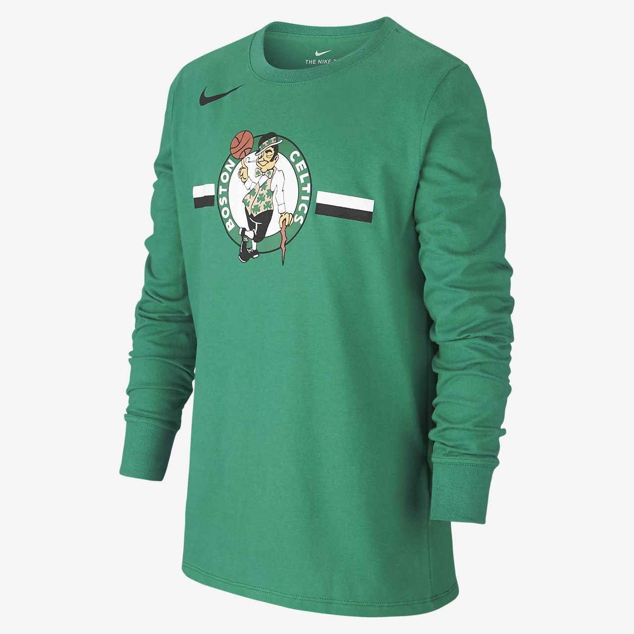 T-shirt a manica lunga Boston Celtics Nike Dri-FIT Logo NBA - Ragazzi