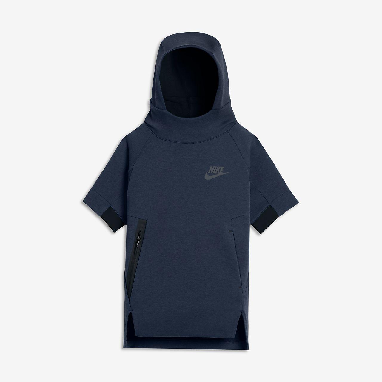 nike sportswear tech fleece older kids 39 boys 39 short sleeve hoodie ie. Black Bedroom Furniture Sets. Home Design Ideas