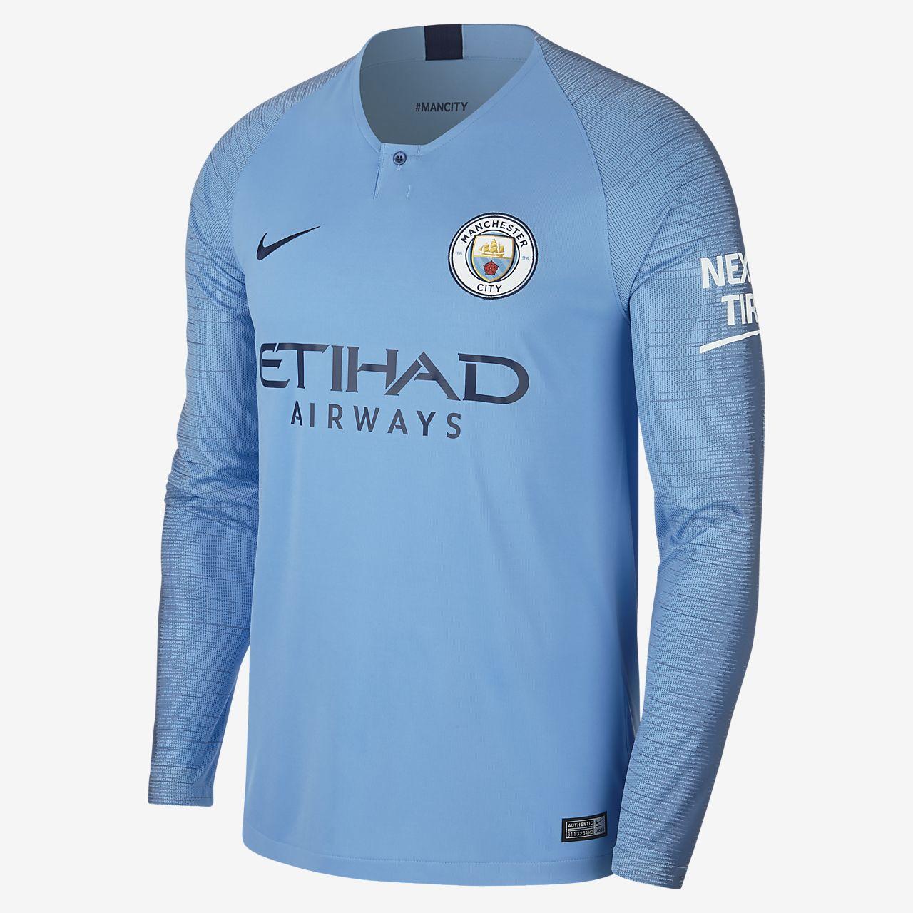 095a243da56 2018/19 Manchester City FC Stadium Home Men's Long-Sleeve Football ...