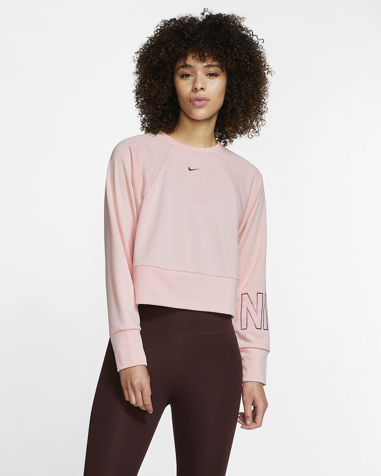 Nike Dri-FIT Get Fit-fleecetræningstrøje med grafik og rund hals til kvinder