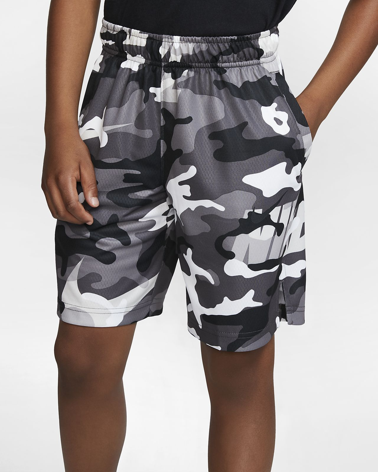 Chlapecké tréninkové kraťasy Nike Dri-FIT s maskáčovým motivem