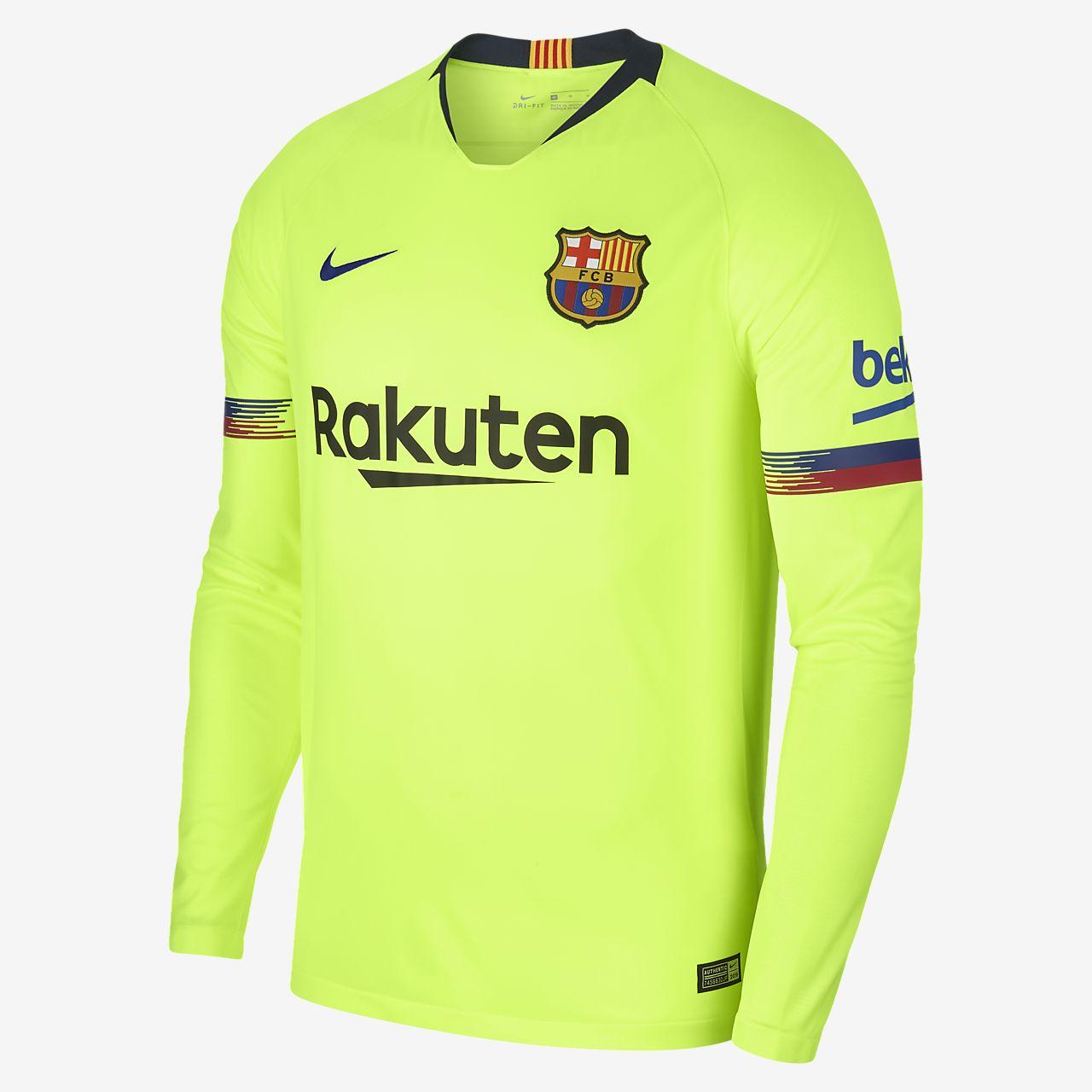 2018 19 FC Barcelona Stadium Away Men s Long-Sleeve Football Shirt ... d63cb333ba8