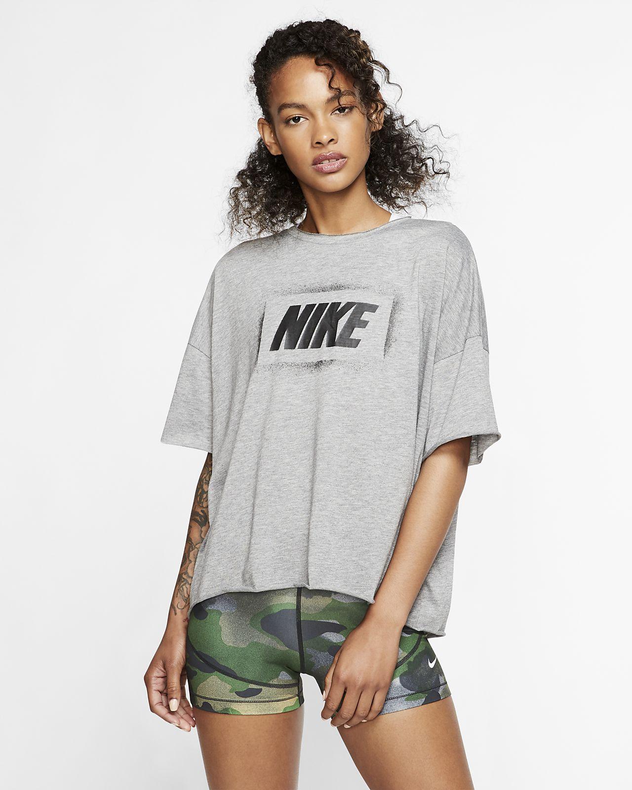Nike Dri-FIT kortermet treningsoverdel med trykk til dame