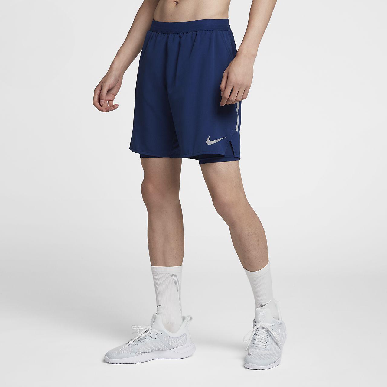 กางเกงวิ่งขาสั้น 7 นิ้วผู้ชาย Nike Distance 2-in-1